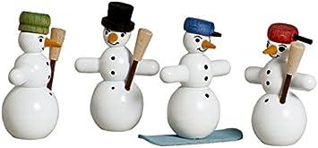 Holzfigur Weihnachtsfigur Schneemann Feuerwehrmann mit Spritze  Höhe 6,5 cm NEU
