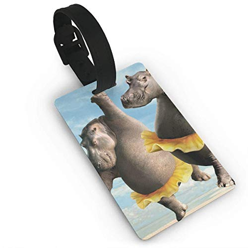 BeautyToiletLidCoverABC Travel Luggage ID Tags Dance Hippo Ballet Suitcase Label Carry On Cards Business Card Holder Size 2.2