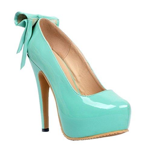Kolnoo Womens Fashion Handmade 14.5cm High Heel Platform Large Size Party Prom Pumps Shoes Blue