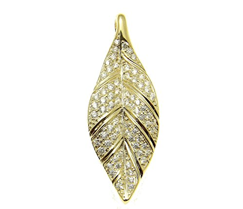 Leaf Sterling Silver Slide Pendant - 925 Sterling silver yellow gold plated Hawaiian maile leaf cz slide pendant