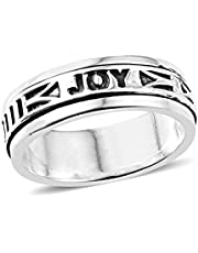 Mens Womens Spinner Band Ring 925 Sterling Silver Statement Boho Handmade Jewelry Gifts for Women Moon Star Celtic Stress Relieving