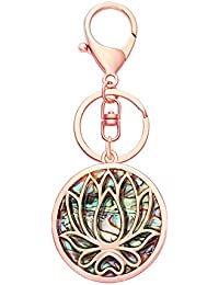 Lotus Flower Natural Abalone Shell Keychain Length 3.6""