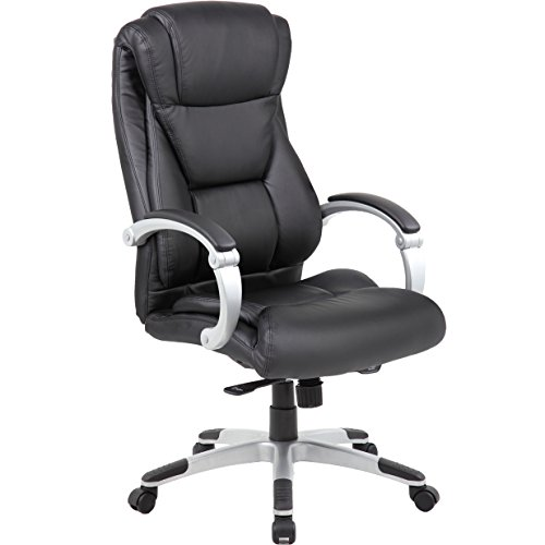 Genesis Large Executive Office Chair - Sleek & Neutral Design, Dual Wheel Casters, Leather Plus Fabric, Padded Synchronized Handles With Adjustable Back