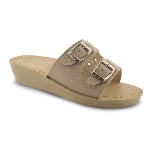 New Ladies Mini Wedge Heel Double Buckle Detail Womens Open Toe Sandals Shoes Beige jMIpyP