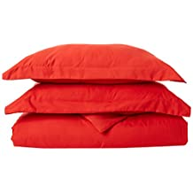 Elegant Comfort 1500 Thread Count Egyptian Quality Super Soft Wrinkle Free 3-Piece Duvet Cover Set, Full/Queen, Red