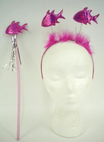 PINK FISH HEAD BOPPERS WITH PINK FUR AND WAND (EACH)