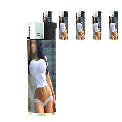 Australian Bikini Model Lighters S10 Set of 5 Electronic Refillable Flame Cigarette Smoking Sexy Australia