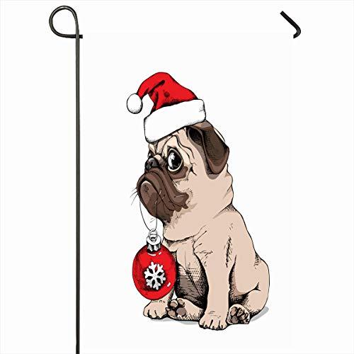 Ahawoso Outdoor Garden Flag 12x18 Inches Cute Season Red Dog Adorable Beige Puppy Pug Costume Celebration Santas Cap Holidays Christmas Home Decor Seasonal Double Sides House Yard Sign -
