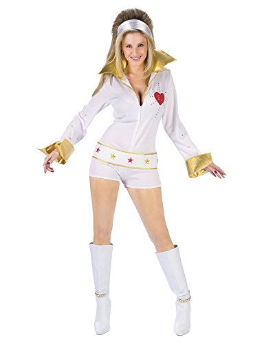 Womens Sexy Elvis Costume Elvis Vegas The King White Jumpsuit Sizes: (Cheap Hollywood Fancy Dress Costumes)