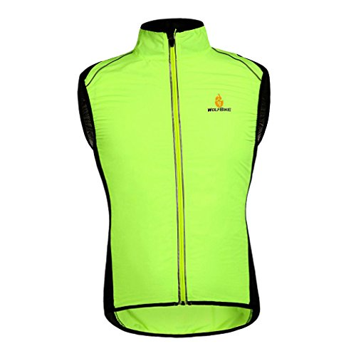 Baosity Premium Reflective Vest Full Zipper Jacket for Outdoor Sports Cycling Running Walking Hiking Jogging Motorcycle S-XXL - Green, ()