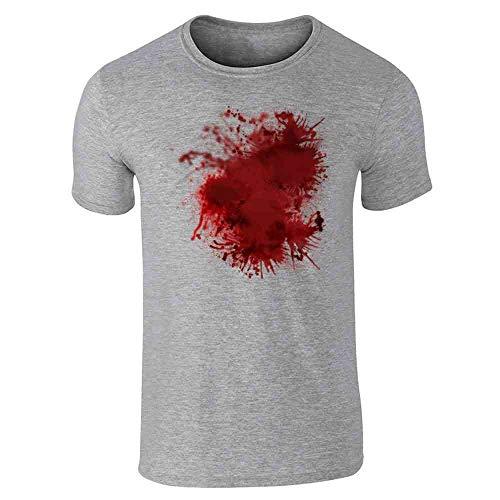 Pop Threads Blood Splattered Horror Bloody Halloween Costume Gray L Short Sleeve T-Shirt ()