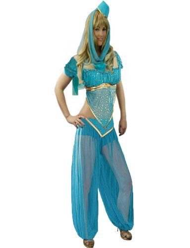 Yummy Bee Womens Genie Costume Belly Dancer Bollywood Blue Size 2 (Jasmine In Aladdin Costumes)