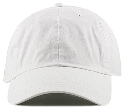 MIRMARU Plain Stonewashed Cotton Adjustable Hat Low Profile Baseball Cap.(White)