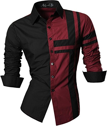 jeansian Men's Slim Fit Long Sleeves Casual Shirts Z014 WineRed M