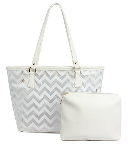 Clear Tote Bags with Full Chevron Prints PVC Shoulder Handbag with Interior Pocket (White)