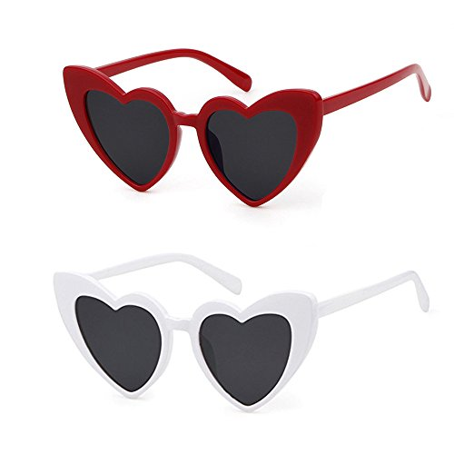 Love Heart Shaped Sunglasses Women Vintage Christmas Giftv For Girls (black&white, black5) by ADEWU (Image #4)
