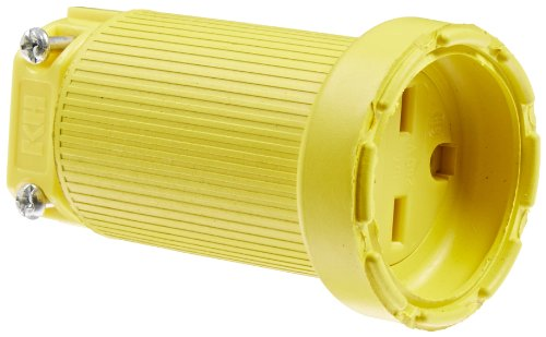 KH Industries C615DF Rubber/Polycarbonate Rewireable Flip Seal Straight Blade Connector, 2 Pole/3 Wire, 15 amps, 250V AC, Yellow