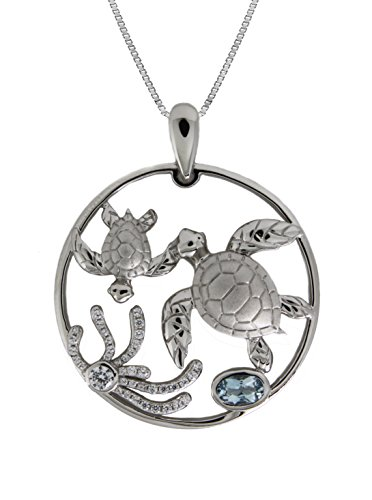 Sterling Silver Mother & Baby Turtle CZ Blue Topaz Circle Necklace Pendant with 18