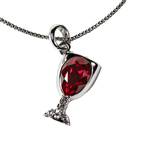Prefen Wine Glass Necklace, Alloy with Wine Tinted Crystal (Red)
