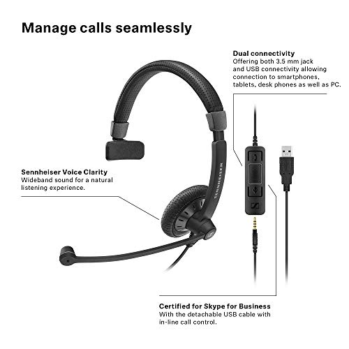 Sennheiser SC 45 USB MS (507083) - Single-Sided Business Headset | For Skype for Business, Mobile Phone, Tablet, Softphone, and PC | HD Sound & Noise-Cancelling Microphone (Black) by Sennheiser Enterprise Solution (Image #1)