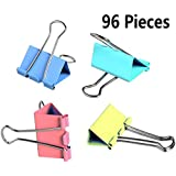 Yexpress Colorful Metal Binder Clips, Assorted Colors and Size 1-inch, 96 Clips