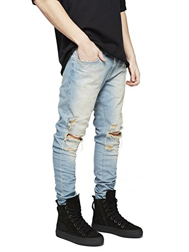 Pantalones Stretch Agujero para Vaqueros Rasgado Ajustados Amarillo Denim Hombre Longitud qx0SSYOw