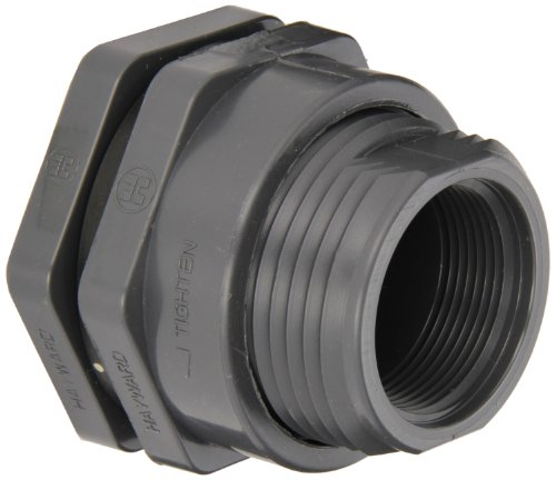 (Hayward BFAS1010TES Series BFAS Short Pattern Bulkhead Fitting, Threaded x Threaded End, PVC with EPDM Seals, 1