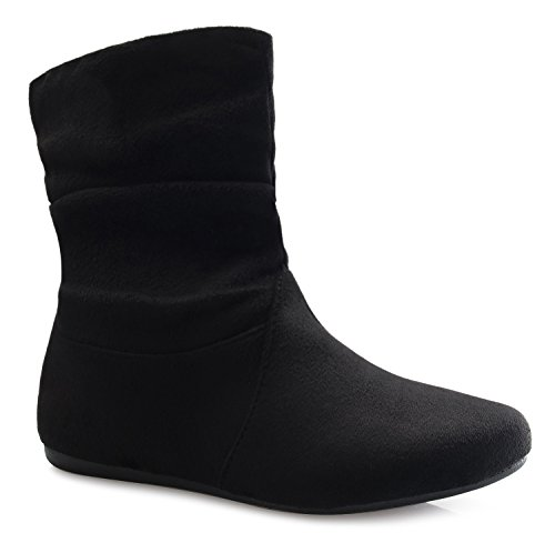 OLIVIA K Womens Low Heel Slouch Suede Slip On Casual Ankle Boots with Ring Buckle and Side Zipper