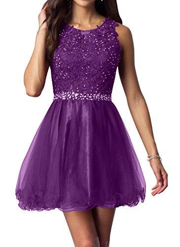 Spitze Partykleider Kurzes Kleider Jugendweihe Festlichkleider Abendkleider mia La Brau Lila Cocktailkleider Mini Promkleider qw8It0g