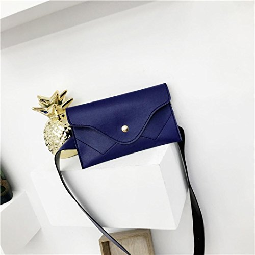 Splice Leather Envelope Handbags Pocciol Pure Wallet Blue Elegant Black Clutch Messenger Evening Color Women XqpYIwS