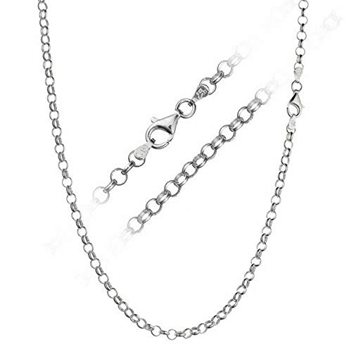 Florance jones Solid 925 Sterling Silver 4mm Italian Rolo Link Cable Chain Necklace All Sizes   Model NCKLCS - 12440   18 - inch - 45cm - Cable Link 4mm Sterling Silver