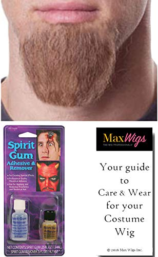 Triangle Goatee Color Grey - Sepia Costume Wigs 1 Point Human Hair Fiber Lace Back Chin Goat Patch Face Pirate Biker Fancy Dress #943 Bundle Spirit Gum Combo, Maxwigs Wig Care Booklet ()