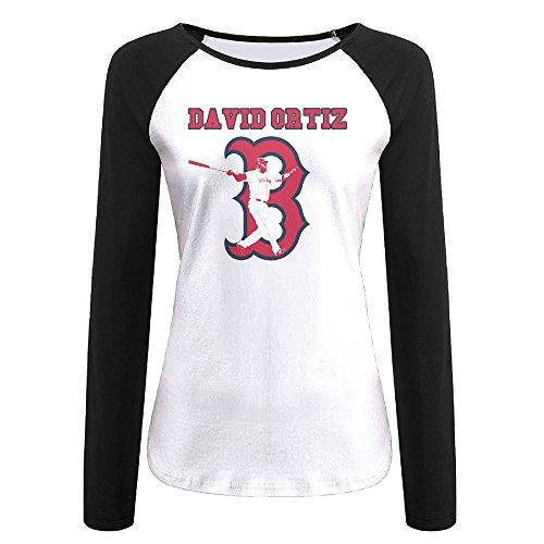 (Creamfly Womens David Baseball Ortiz Long Sleeve Raglan Baseball Tshirt)