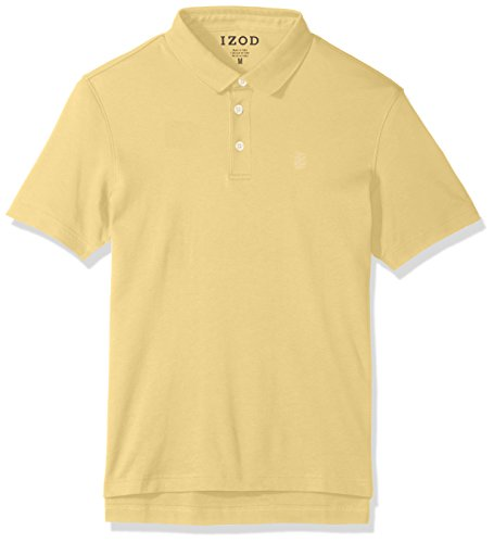 IZOD Men's Solid Interlock Polo Shirt, Bright Sundress, Large (Dress Rugby Shirt)
