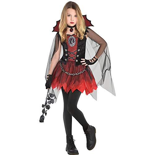 Suit Yourself Dark Vampire Costume for Girls, Size Small, Includes a Mini Dress, a Sheer Cape, and a Choker Necklace -