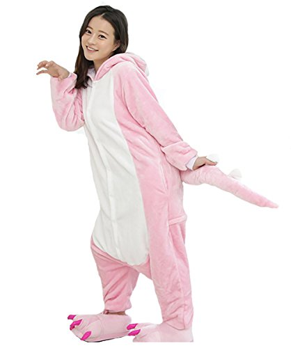 Tall And Short Couple Costumes (Unisex Adult Animal Oneise Warm Pajamas Halloween Party Cosplay Costume (Large, Pink Dinosaur))