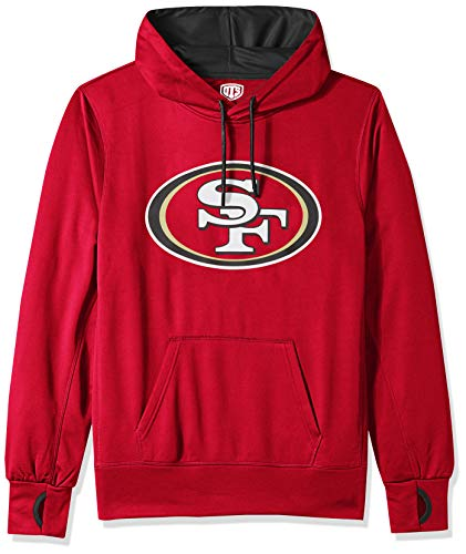 NFL San Francisco 49Ers Male OTS hooded Pullover, Red, Small