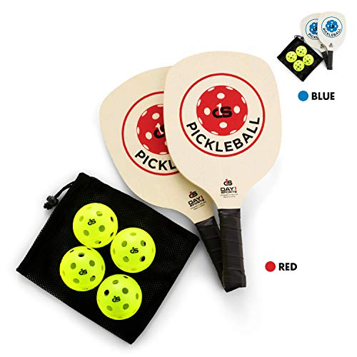 Pickleball Paddle Starter Set with 2 Red Paddles, Carry Bag, 4 Indoor Pickle Balls by Day 1 Sports - Beginner and Recreational Pickleball Kit with Lightweight, Wooden Rackets and Accessories