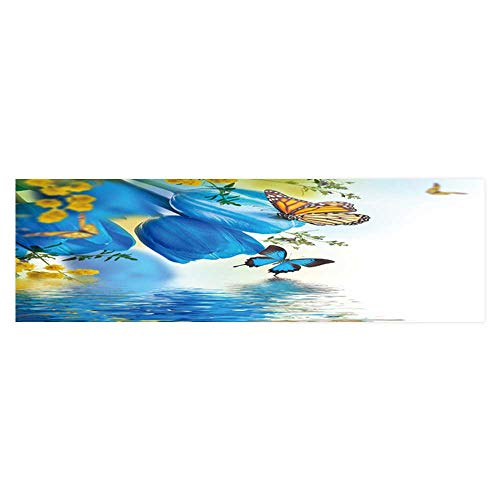 Dragonhome Aquarium Sticker Blue Tulips with Mimosa and Butterfly SPR Background Fish Tank Backdrop Static Cling L35.4 x H19.6