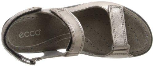 ECCO Women's Babett Triple Velcro Sandals, Grey Metallic, 2/2.5 F UK