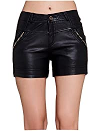 Faux Leather Shorts PVC Short Pants With Pockets
