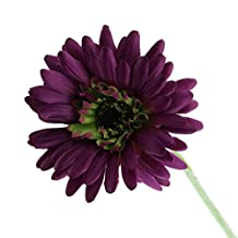 "Gresorth 21"" Artificial Flower Dark Purple Gerbera Fake Sunflower Lot for Wedding Flowers Bridal Bouquet Party Home Decoration - 10 PCS"