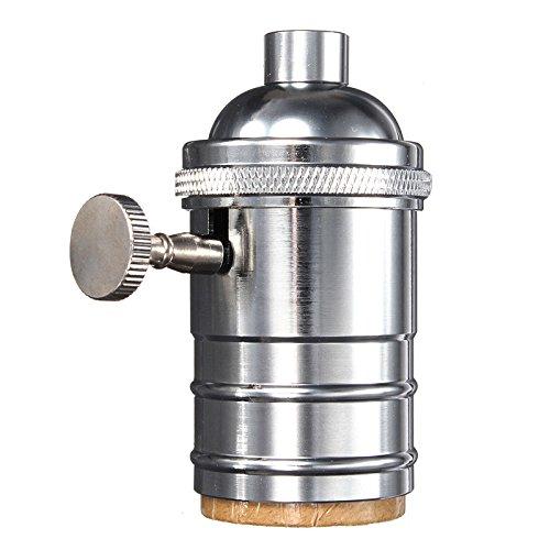 Mising Light Base E26/E27 Solid Lamp Base Socket Vintage Edison Bulb Base Lamp Holder Industrial Bulb Pendants 2 Way Knob Kangkangk (Chrome)