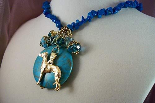 ITALIAN GREYHOUND-nk04- -THEMED NECKLACE-FREE SHIPPING- GEMSTONE CHARM NECKLACE - HOBBY HORSE LADY JEWELRY- Jewelry for Dog -