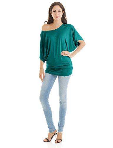 H2H Women Short Sleeve Boat Neck Side Shirring Dolman Tee Jade US 2XL/Asia 2XL (CWTTS0113) -