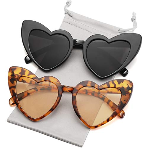 Heart Shaped Sunglasses for Women Girls Ladies Vintage Goggle Mod Sun Glasses Shades 2 Pack(Black + Leopard ()