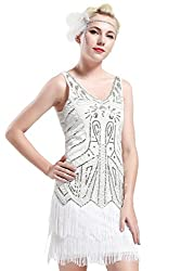 White V Neck Beaded Fringed Great Gatsby Dress