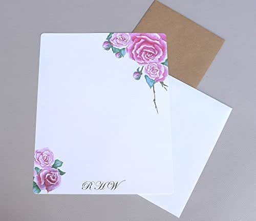 Women's Rose Bouquet Complete Personalized Writing Paper Stationery Set, Floral Garden Stationary For Girl's, Monogram Custom Correspondence Sheets With Envelopes