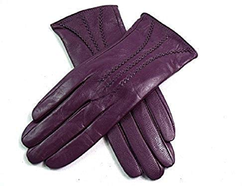 - The Leather Emporium Women's Gloves Fur Lined Stripe Detail Slim Fit Medium Purple