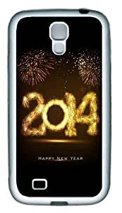 2014 Happy New Year Fireworks TPU Rubber Soft Case Cover For Samsung Galaxy S4 SIV I9500 White